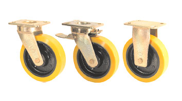 GRDDE Twin Wheel Castors with SZS Series Soft Polyurethane Wheels